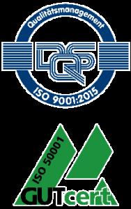 Deutsche Siegel der Zertifikate ISO 9001:2015 und ISO 50001