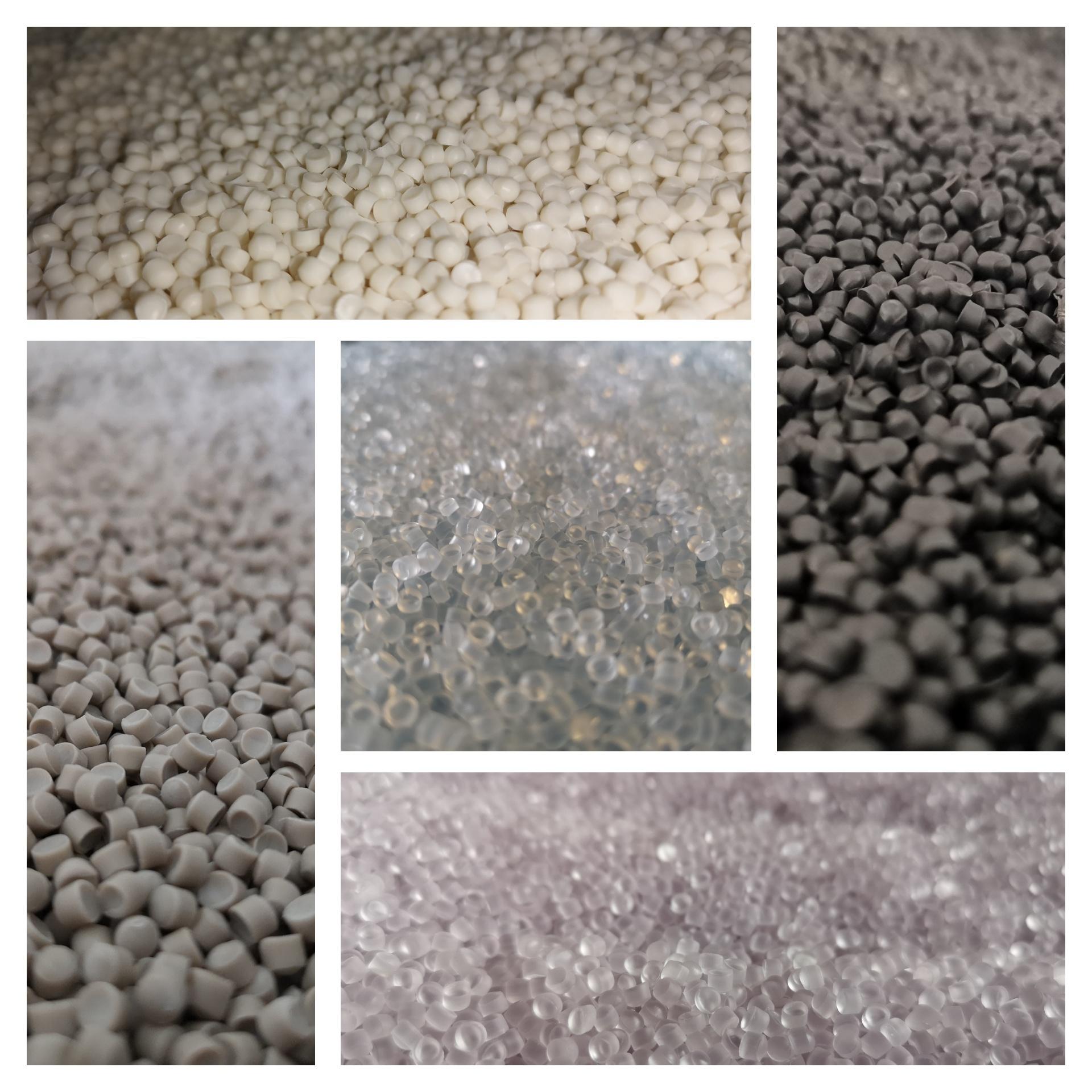 verschiedene Abbildungen von PVC Granulat in unterschiedlichen Farben und Größen